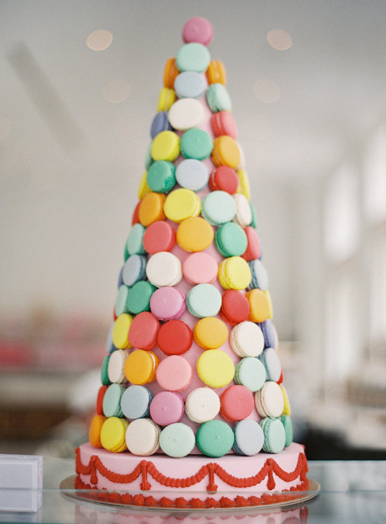 colorful wedding macaron cake