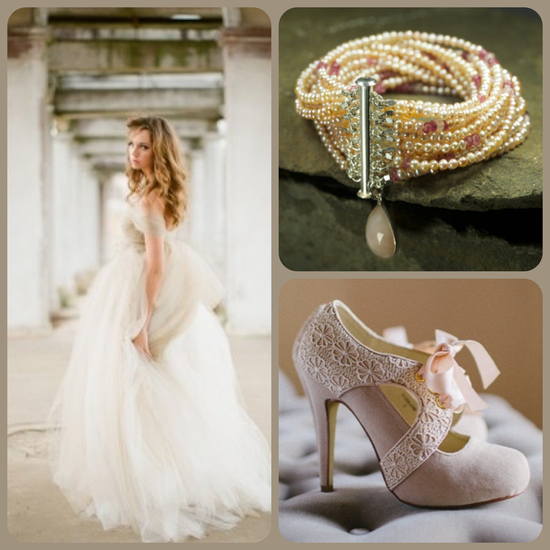 Beige Wedding Dress and Acessories