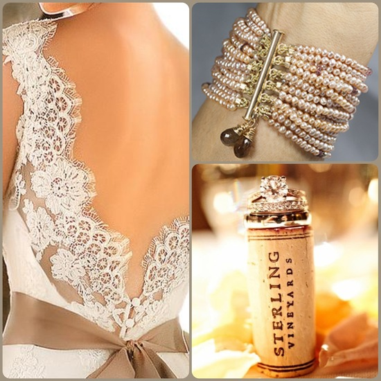 Classic Beige Wedding Dress and Accessories