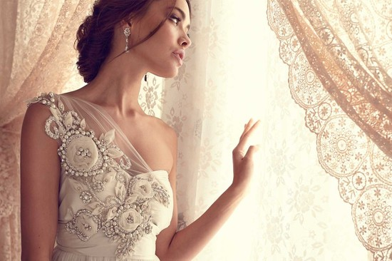 Anna Campbell romantic wedding dress with beading