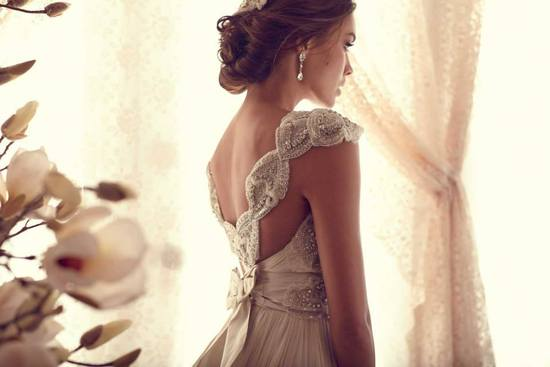 Anna Campbell wedding dress beautifully beaded sleeves