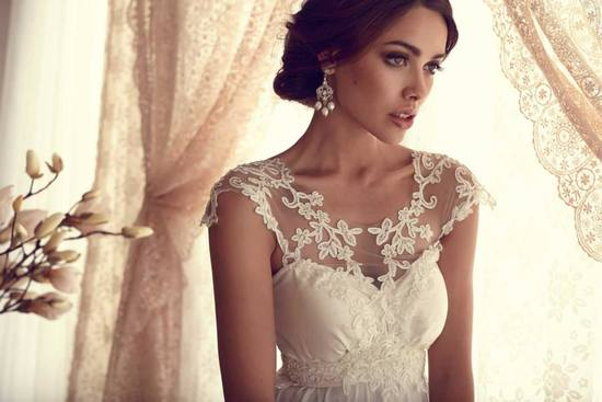Anna Campbell wedding dress Gossamer bridal collection delicate illusion neckline