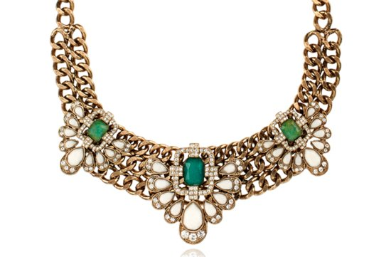 gold wedding necklace with emerald and ivory stones