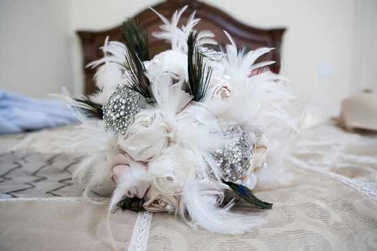 Gorgeous Vintage Bridal Bouquet with Feathers and Sparkle