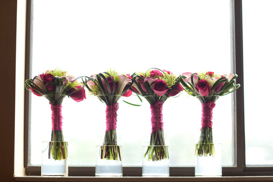 photo of Pink and Green wedding bouquet of roses, calla lilies and spider chrysanthemums