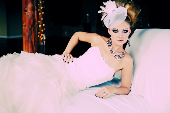 Modern and Edgy Bridal Hair, Headpiece, Makeup and Jewelry