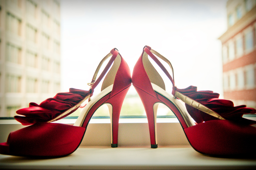 Red Bridal Shoes with Ribbon Accents