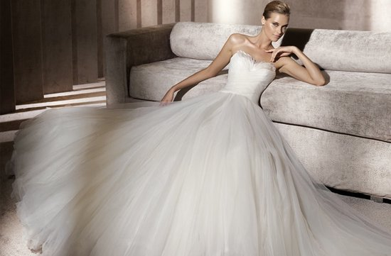 Pronovias feather-embellished wedding dress