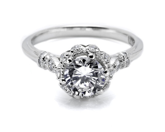 Tacori engagement ring with scalloped edges