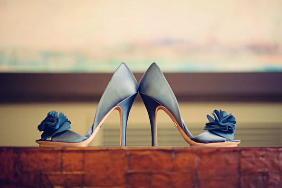 photo of Blue satin open-toe wedding shoes