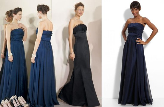 Elegant Monique Lhuillier bridesmaids' dresses