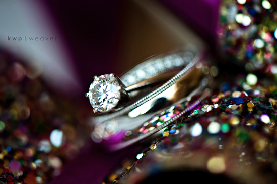 Real wedding photo of bride's engagement ring and wedding band