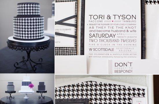 modern houndstooth wedding inspiration in black and white