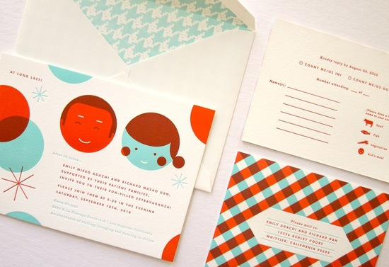 red aqua cream wedding invitations with houndstooth envelope liners