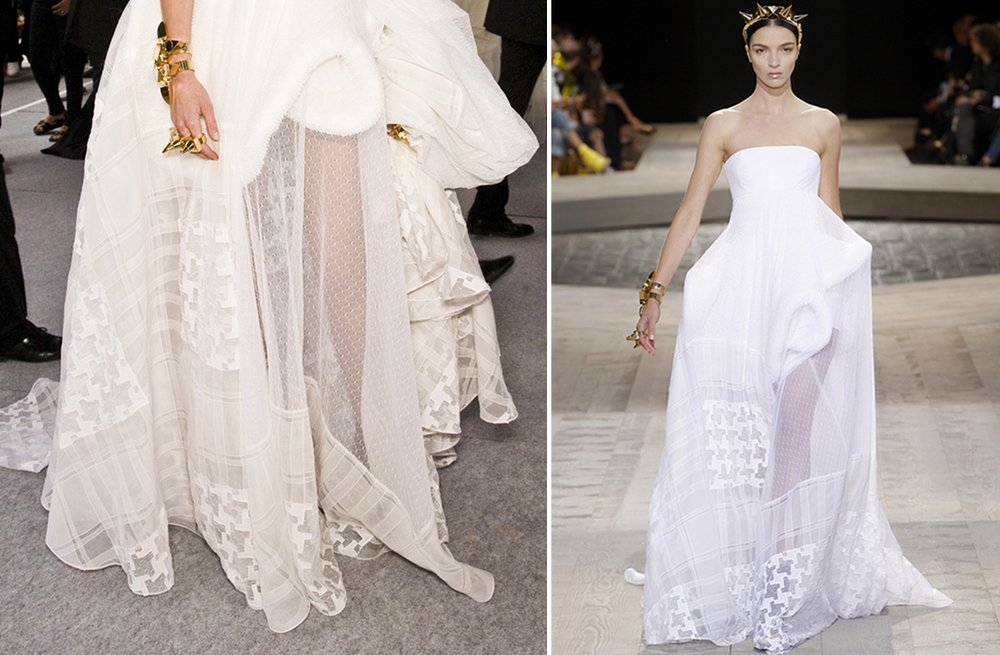 Givenchy Haute Couture white wedding dress with houndstooth print 3