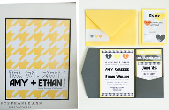 yellow and gray houndstooth wedding invites