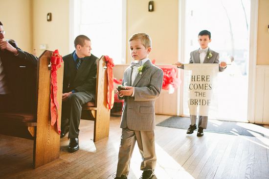 ring bearers wear houndstooth bow ties