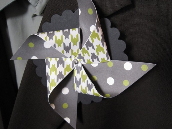 houndstooth and polka dot pinwheel boutonniere