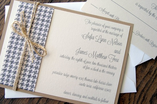 photo of vintage barn wedding invite with houndstooth belly band