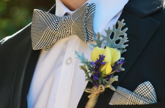 Houndstooth pocket square and bow tie for the groom
