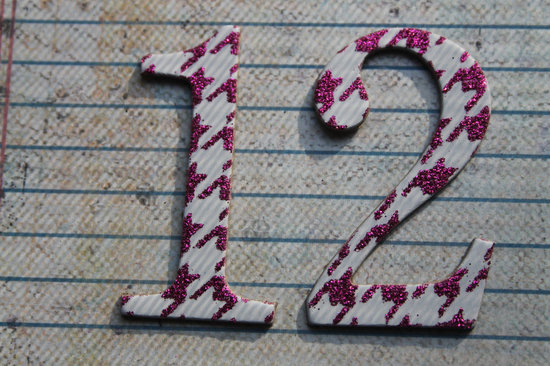 sparkly pink and gray houndstooth wedding table numbers