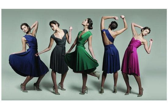 Convertible bridesmaids' dresses in rich jewel tones
