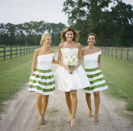 One Shoulder Bridesmaids Dresses With Green And White Stripes