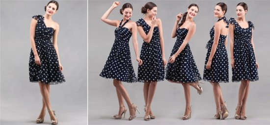 Polka dot convertible bridesmaid dress
