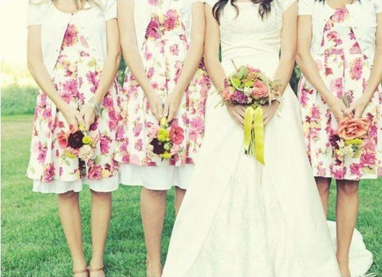 pink floral short bridesmaid dresses