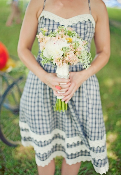 photo of sweet gingham bridesmaid dress