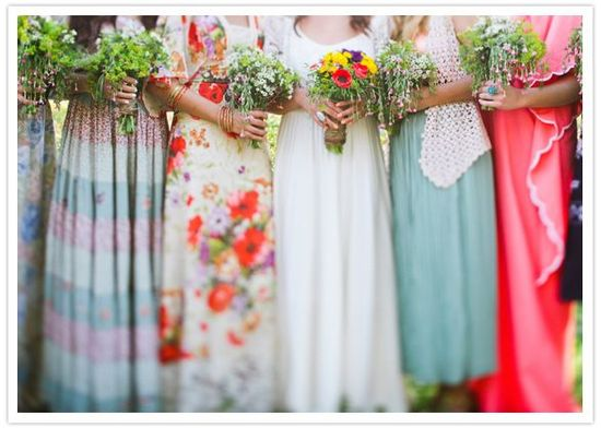 mix and match patterns on spring bridesmaids