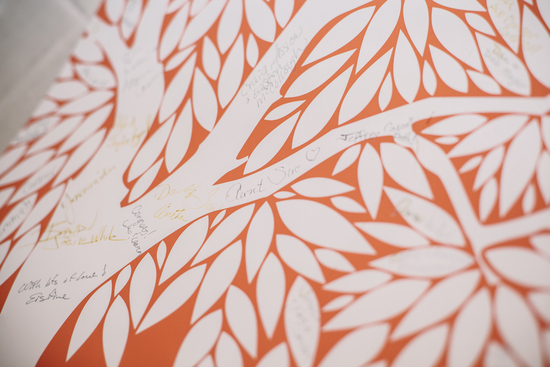 Bright summer wedding orange and white alternative guest book
