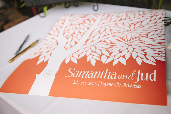 Bright summer wedding orange and white guest book