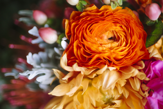 Bright summer wedding orange ranunculus in the bridal bouquet