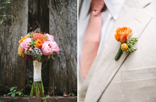 photo of Bright summer wedding down south bouquet and boutonniere