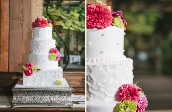 Bright summer wedding down south floral adorned cake
