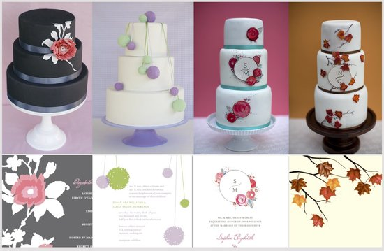 Wedding cakes inspired by wedding invitations