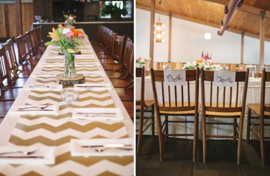 Bright summer wedding down south reception decor with modern chevron