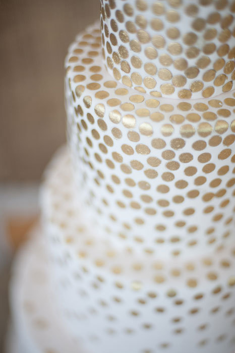 wedding cake with cascading gold sequins