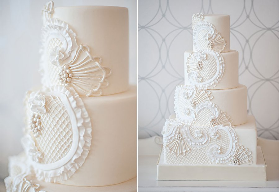 White Wedding Cake With Pearl Lace Applique