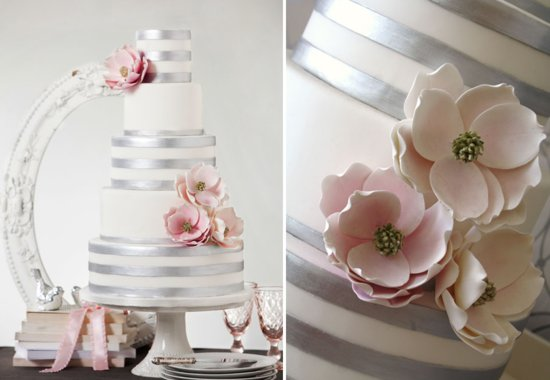 Silver ivory and blush elegant wedding cake