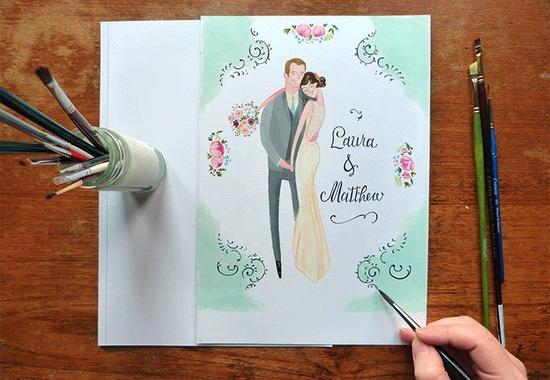 beautiful wedding illustrations and portraits 2