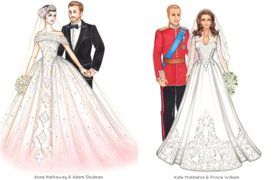 Celebrity weddings custom art illustrations