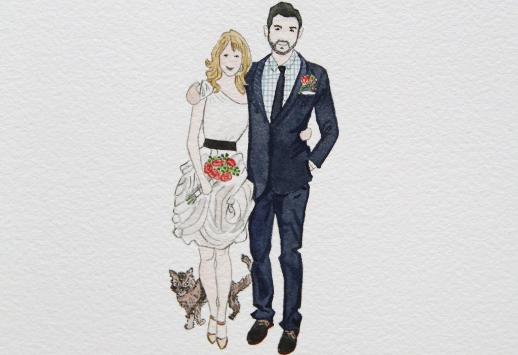 Custom Wedding Illustration Of Bride And Groom Onewed Com