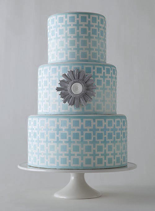 Modern blue and white wedding cake