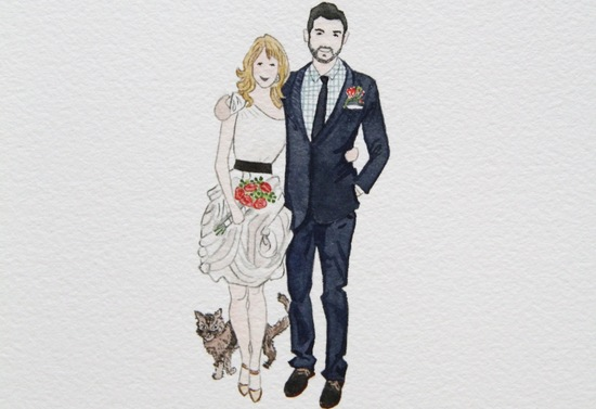 custom wedding illustration of bride and groom