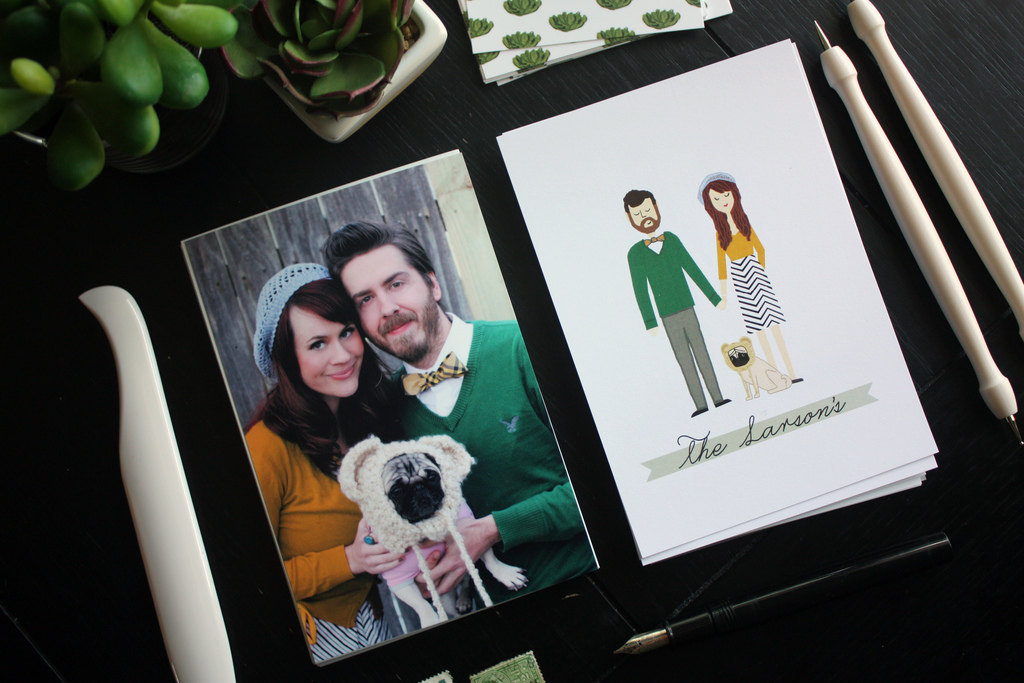 bride and groom engagement photo becomes custom stationery illustration