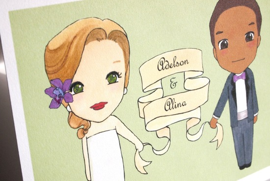 cute custom bride and groom illustrations for wedding stationery