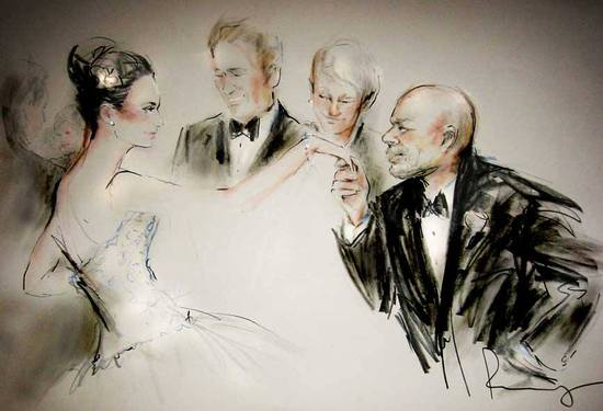 Elegant wedding illustration by Rosemary Fanti