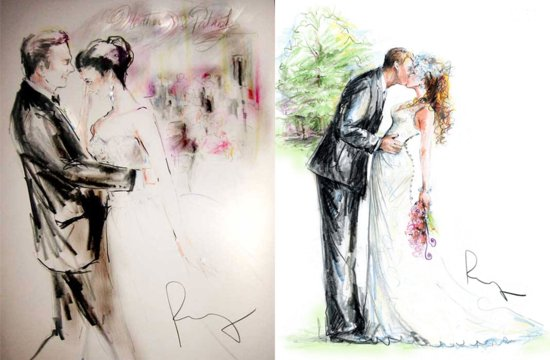 photo of Custom wedding illustrations by Rosemary Fanti bride and groom portraits